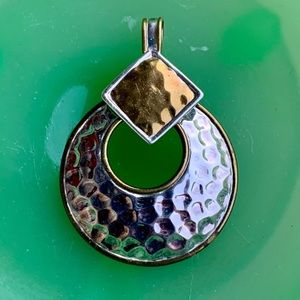 Sterling two toned hammered circle pendant